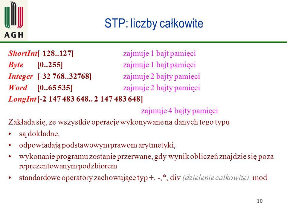 STP: liczby całkowite ShortInt [-128..127] zajmuje 1 bajt pamięci